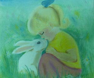 """""""Девочка и кролик"""", Сухова Алиса, 11 лет, руководитель Дербенева Г.С."""